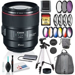 Canon Ef 85mm F/1.4l Is Usm Lens With 32gb Sd Memory Kit, Filter Kits, And More