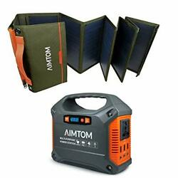155wh Portable Power Station Sps-155 With 60w Folding Solar Panel Asp-60