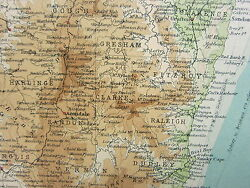 1921 Large Map Australia New South Wales Sydney Environs