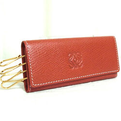 Authentic Loewe 1846 Red Leather Key Case 4 Hooks Good Vintage Made In Spain