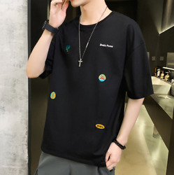 Summer Menand039s Casual Cotton T-shirt Embroidered 3d Printing Loose Round Neck