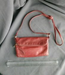 Authentic Vintage Hobo The Original Small Red Leather CrossBody Bag Ships Free $34.95