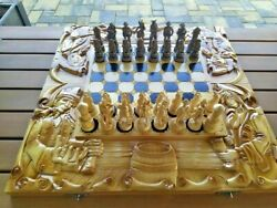 Unique Handmade Kingand039s Wooden Chess Set Foldable Carved Natural Beech Wood Large