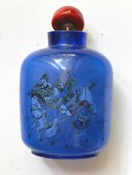 Antique Chinese Inside Painted Blue Glass Snuff Bottle, Ancient Story Theme,rare