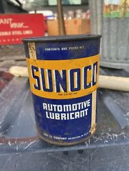 Vtg Sunoco Automotive Water Pump Grease Lubricant 1 Lb Can Gas Oil Garage Sign