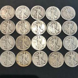 All 1918 S Walking Liberty Half Dollars Full Roll 20 Coins Silver Us Coin 24j