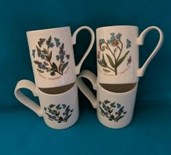 Portmeirion Botanic Garden 4 Mugs Floral Speedwell Forget-me-not Nwt Coffee Cups