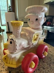 Vintage 1962 Edward Mobley Rubber Train Squeak Pull Toy, No. 75, Arrow Rubber Co
