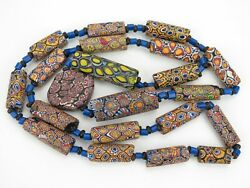 African Trade Beads. Venetian Millefiori Necklace With Bugle Spacers. 21 Beads