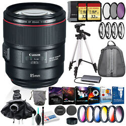 Canon Ef 85mm Is Usm Lens With Filter Kits, Two 32gb Sd, Backpack, And More