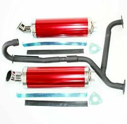 Twin Exhaust Pipe Red Alloy Mufflers 250cc Hummer Style Farm Quad Dirt Bike Atv