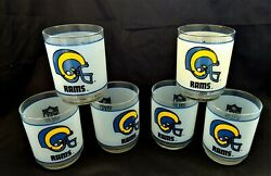Lot Of 6 La Rams 1980and039s Mobil Promo Frosted Rocks Glass Collectible Nfl 4t