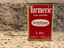 Vintage A Schilling And Co By Mccormick Spice Tin Copyright 1950 Turmeric 2 Ounces