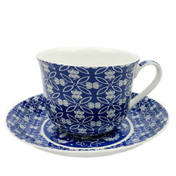Breakfast Cup And Saucer Set Fine China New Gift Boxed Indian Textile Blue 500ml