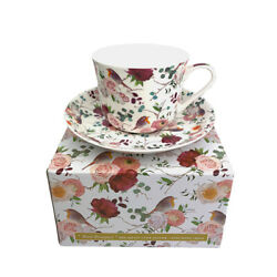 Breakfast Cup And Saucer Set Fine China New Gift Boxed Bird Bouquet 500ml 17.5oz