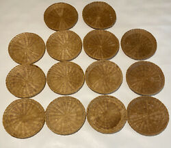 Vintage 14 Wicker Paper Plate Holders Picnic Cookout Camping Tan 9.5