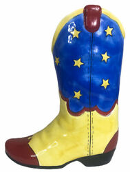 Anne Ormsbys Ceramic Cowboy Boot Vase Seeing Stars Blue Yellow Red
