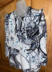 Emilio Pucci Nwt 100 Silk Tunic Long Sleeve Top Neck Tie Fish Abstract Size 40