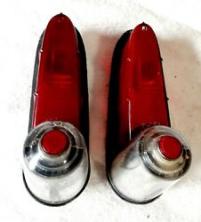 1955 Plymouth Tail Lights Housing Assembly Pair Genuine Plybb Original Used101