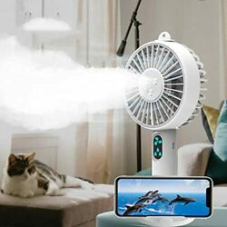 Double Nozzle Handheld Misting Portable Mini Fan With Mobile Phone Holder Person