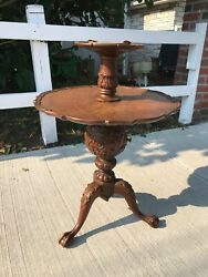 Antique Carved Smoking Table Secret Compartment