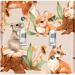 Metal Light Switch Cover Wall Plate Nature Forest Animals Deer Fox Bunny Anm013