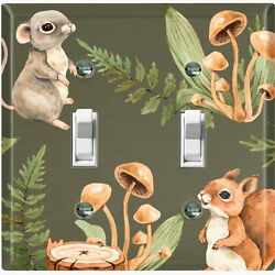 Metal Light Switch Cover Wall Plate Nature Forest Animals Squirrel Mouse Anm014