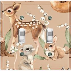 Metal Light Switch Cover Wall Plate Nature Forest Animals Deer Bunny Mice Anm015