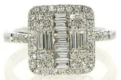 Large .89ct Diamond 18kt White Gold 3d Round And Baguette Square Halo Cross Ring