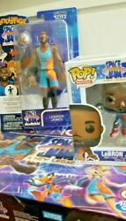 Space Jam Monopoly Board Game Lebron James Funko Pop Bendy Fig Exclusive 4 Items
