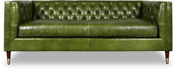 Xxl Sofa 3 Seat Green Couch Chesterfield Pads Seat Set Leather Textile New