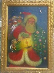 24x 36 Canvas Oil Painting Lighting The Way. Christopher Radko Collection 1998