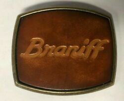 Vintage Braniff Airlines Solid Brass And Leather Belt Buckle