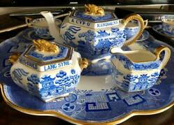 Antique / Spode Copeland Blue Willow Auld Lang Syne Tea Set W/ Tray