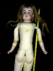 Antque 25 C.o.d. Bisque Shoulder Head German Doll/teeth/leather Body/1880s