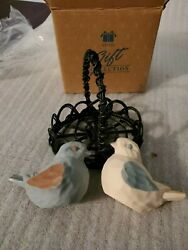 Avon 3 Piece Spring Melodies Birds In Basket Salt And Pepper Shakers New