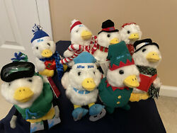 Rare - Lot Of 8 Aflac Holiday Ducks Plush Talking Limited Edition - Mint