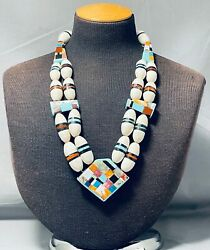 One Of The Most Unique Ever Vintage Santo Domingo Inlay Sterling Silver Necklace