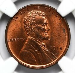 1915 D Wheat Penny Ngc Ms-64 Rb