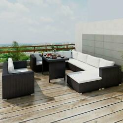 10 Piece Garden Lounge Set With Cushions Poly Rattan Multiple Options
