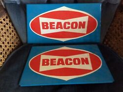 Vintage Beacon Gas Station Signs Two Of Them In Good Shape Enamel 60s