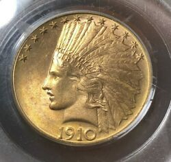 1910-d 10 Pcgs Ms61 - Indian Eagle - Gold Coin