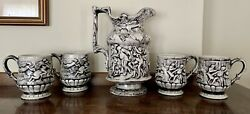 Signed Majolica Water Pitcher And 4 Mugs Horses Tavern Black And White Rare Mint