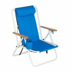 Beach 4-position Lace-up Backpack Folding Beach Chair Outdoor Steel Lounge Chair