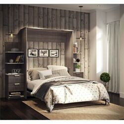 Elite 104 Queen Wall Bed Kit In Bark Gray And White