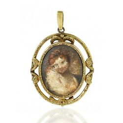 Antique 17th / 18th Century Italian 14kt Gold Oval Pendant With Oil Portrait