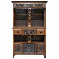Large Heavily Carved Bookcase Cupboard With Ornate Cherub Putti And Lion Figures