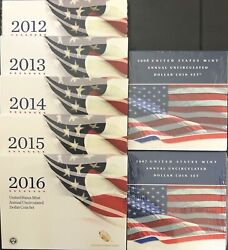 2008, 2009, 2012, 2013, 2014, 2015, 2016 Annual Uncirculated Dollar Sets