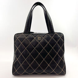 Handbag Wild Stitch Lambskin Made In Black Italy Vintage Recommend _25325