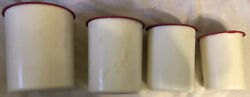 Vtg Mcm Tupperware Plastic Canister Set 4 White Pink Lid 2416a/2418a/2420a/2422a